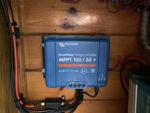 Victron MPPT solar charger installed on a boat.