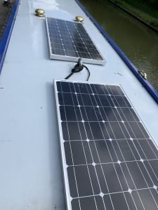 Solar panels on a boat roof.