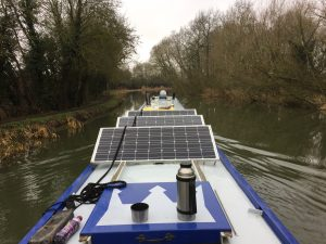 100w Victron solar panels fitted to a narrowboat.